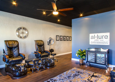 Allure Salon Pedicure Chairs and Sign