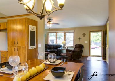 Kitchen, Living room and front door